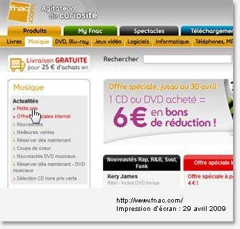 Le site de La Fnac propose une zone de navigation spécifique placée sous la barre de navigation
