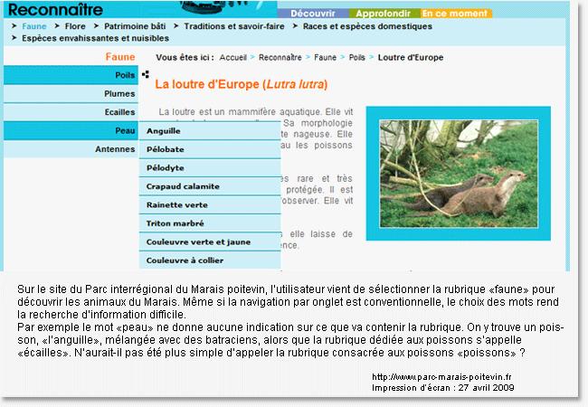 Exemple de navigation où la recherche d'information est rendue difficile à cause des mots choisis dans le menu.