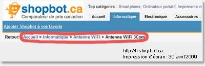 Le fil d'Ariane permet de se repérer dans le site. Il montre le chemin parcouru par l'internaute à partir de la page d'accueil.
